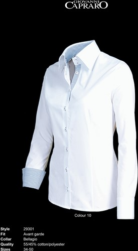 Giovanni Capraro 29301-10 Blouse - Wit [Blauw accent]