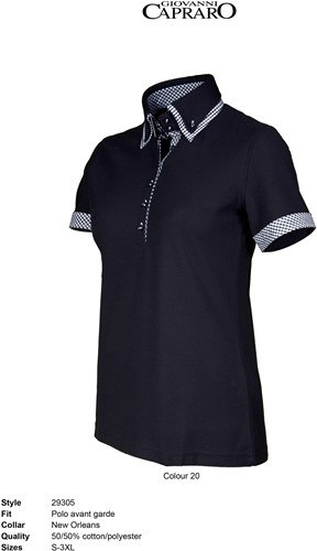 Giovanni Capraro 29305-20 Dames Polo - Zwart [Wit accent]