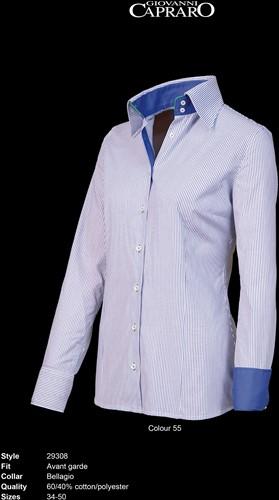 Giovanni Capraro 29308-55 Blouse - Blauw gestreept [Navy*Groen accent]