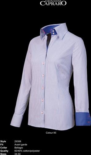 Giovanni Capraro 29308-85 Dames Blouse - Blauw gestreept [Navy*Rood accent]