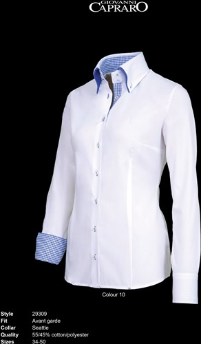Giovanni Capraro 29309-10 Dames Blouse - Wit [Blauw accent]
