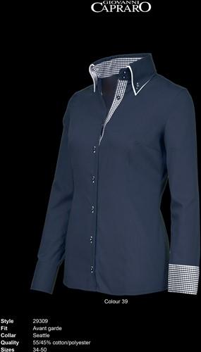 Giovanni Capraro 29309-39 Blouse - Navy [Blauw accent]
