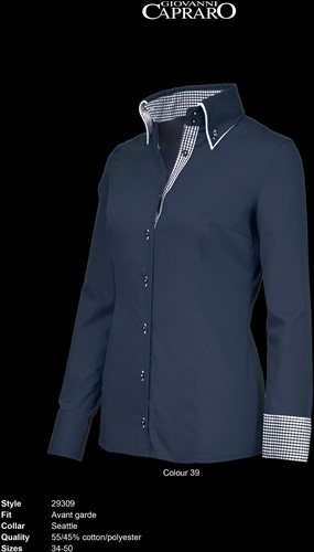 Giovanni Capraro 29309-39 Dames Blouse - Navy [Blauw accent]