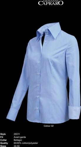 Giovanni Capraro 29311-32 Dames Blouse - Licht Blauw gestreept [Blauw accent]