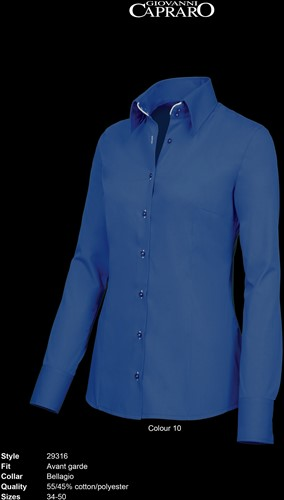 Giovanni Capraro 29316-10 Dames Blouse - Donker Blauw [Wit accent]
