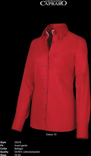 Giovanni Capraro 29318-10 Dames Blouse - Rood [Wit accent]