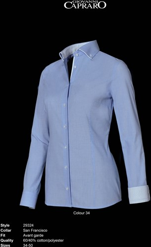Giovanni Capraro 29324-34 Dames Blouse - Licht Blauw [Wit accent]
