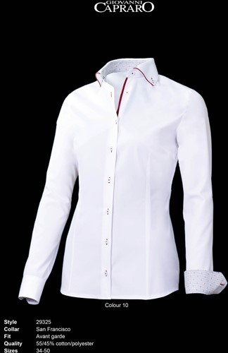 Giovanni Capraro 29325-10 Dames Blouse - Wit [Rood accent]