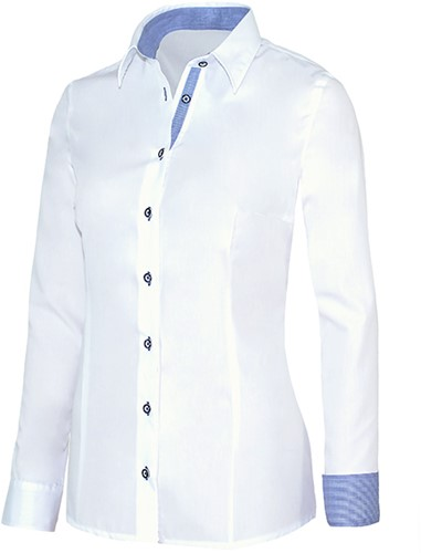 Giovanni Capraro 29335-36 Dames Blouse - Wit [Blauw accent]