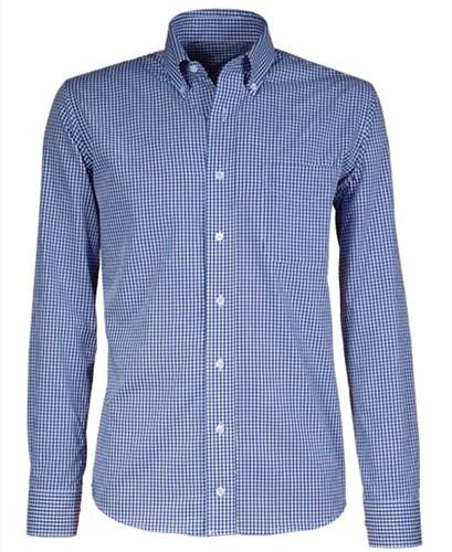Giovanni Capraro 50-35 Heren Overhemd - Blauw Geblokt