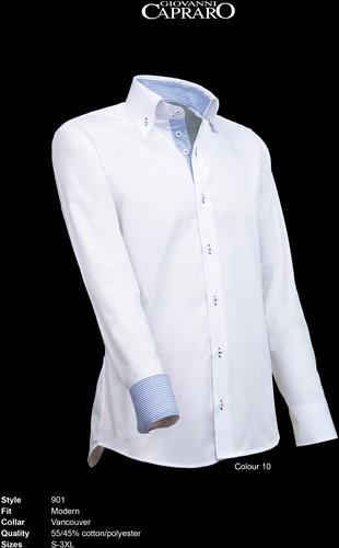 Giovanni Capraro 901-10 Heren Overhemd - Wit [Blauw accent]