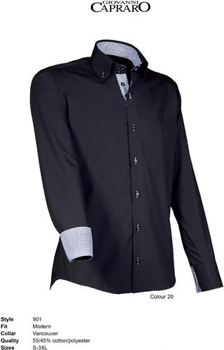 Giovanni Capraro 901-20 Heren Overhemd - Zwart [Grijs accent]