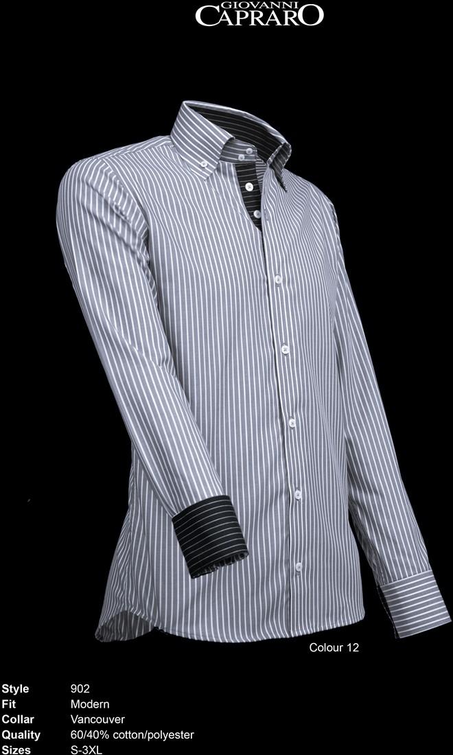c5908a1a231 Giovanni Capraro 902-12 Overhemd - Grijs gestreept [Zwart accent ...