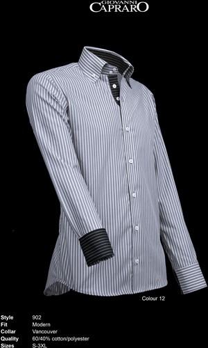 Giovanni Capraro 902-12 Heren Overhemd - Grijs gestreept [Zwart accent]