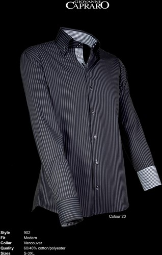 Giovanni Capraro 902-20 Heren Overhemd - Zwart gestreept [Zwart accent]