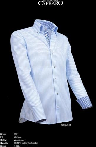 Giovanni Capraro 902-31 Heren Overhemd - Licht Blauw gestreept [Blauw accent]