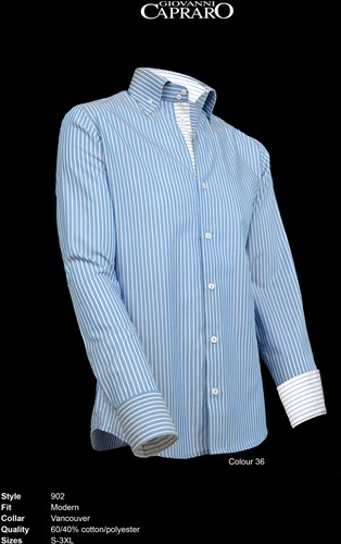 Giovanni Capraro 902-36 Heren Overhemd - Blauw gestreept [Blauw accent]