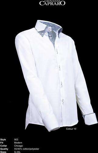 Giovanni Capraro 903-10 Heren Overhemd - Wit [Zwart accent]