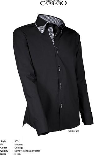 Giovanni Capraro 903-20 Heren Overhemd - Zwart [Zwart accent]