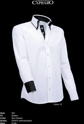 Giovanni Capraro 904-10 Heren Overhemd - Wit [Zwart accent]
