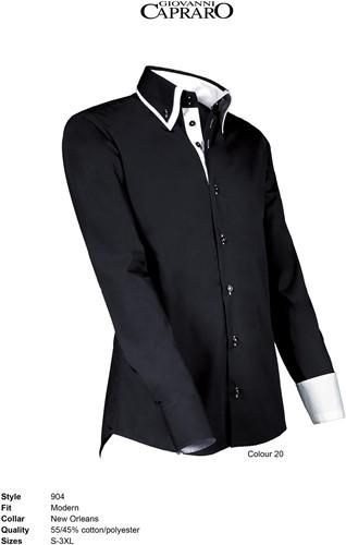 Giovanni Capraro 904-20 Heren Overhemd - Zwart [Wit accent]