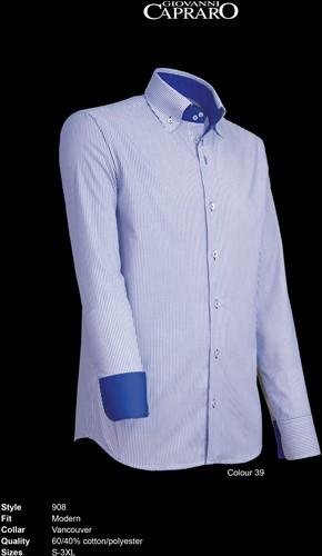 Giovanni Capraro 908-39 Heren Overhemd - Blauw gestreept [Blauw Accent]