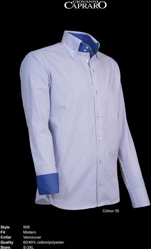 Giovanni Capraro 908-55 Heren Overhemd - Blauw gestreept [Groen Accent]