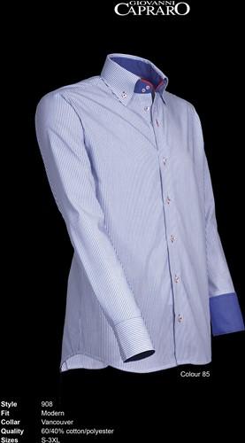 Giovanni Capraro 908-85 Heren Overhemd - Blauw gestreept [Rood Accent]