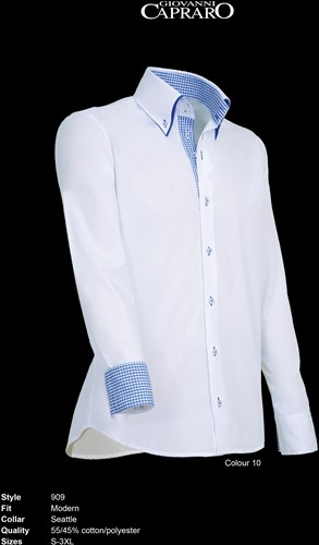 Giovanni Capraro 909-10 Heren Overhemd - Wit [Blauw accent]