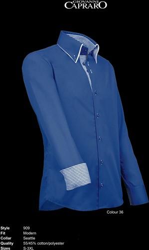 Giovanni Capraro 909-36 Heren Overhemd - Blauw [Blauw accent]