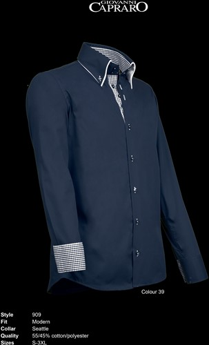 Giovanni Capraro 909-39 Overhemd - Navy [Navy accent]