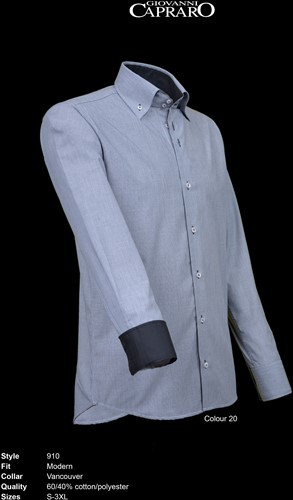 Giovanni Capraro 910-20 Heren Overhemd - Grijs [Zwart accent]