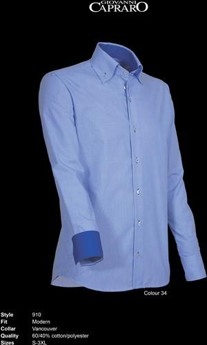 Giovanni Capraro 910-34 Heren Overhemd - Blauw Blauw accent]