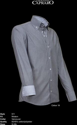 Giovanni Capraro 911-18 Heren Overhemd - Grijs gestreept