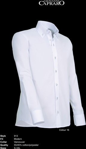 Giovanni Capraro 913-16 Heren Overhemd - Wit [Grijs accent]