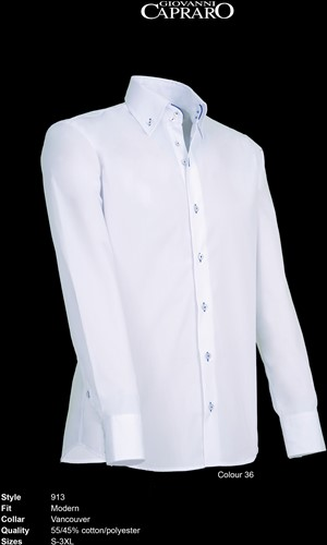 Giovanni Capraro 913-36 Heren Overhemd - Wit [Blauw accent]