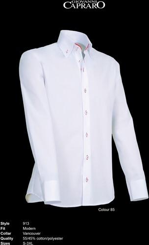 Giovanni Capraro 913-85 Heren Overhemd - Wit [Rood accent]