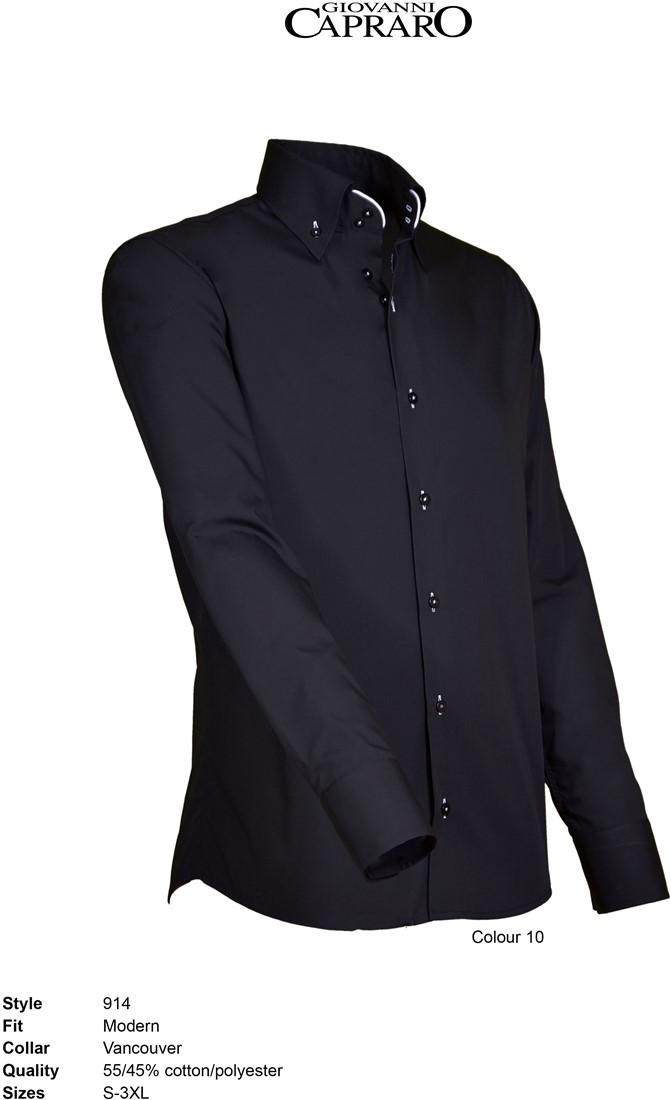 Overhemd Zwart Wit.Giovanni Capraro 914 10 Overhemd Zwart Wit Accent Giovanni Capraro