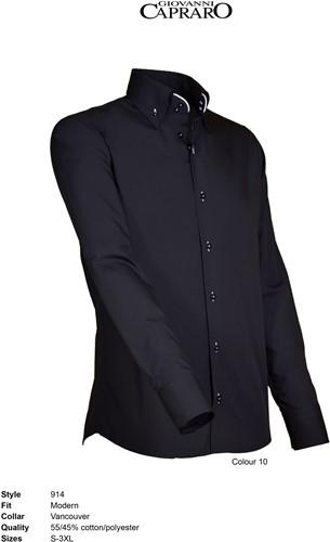 Giovanni Capraro 914-10 Heren Overhemd - Zwart [Wit accent]