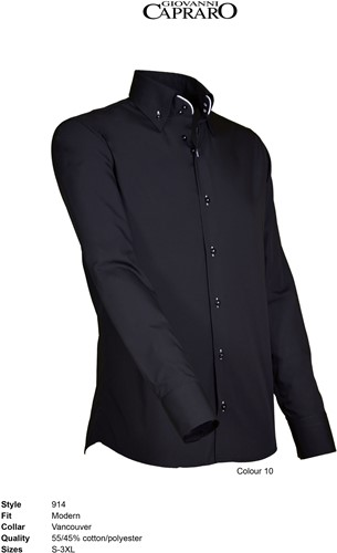 Giovanni Capraro 914-10 Overhemd - Zwart [Wit accent]