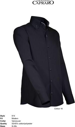 Giovanni Capraro 914-16 Heren Overhemd - Zwart [Grijs accent]