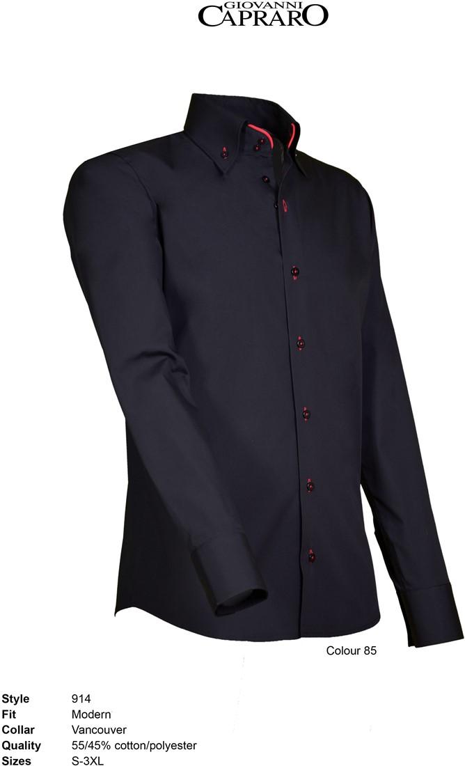 Overhemd Rood Zwart.Giovanni Capraro 914 85 Overhemd Zwart Rood Accent Giovanni Capraro
