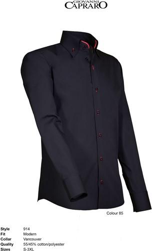 Giovanni Capraro 914-85 Heren Overhemd - Zwart [Rood accent]
