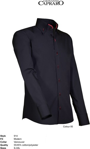 Giovanni Capraro 914-85 Overhemd - Zwart [Rood accent]