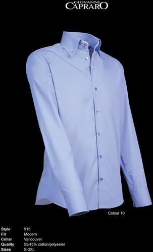 Giovanni Capraro 915-10 Heren Overhemd - Licht Blauw [Wit accent]