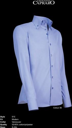 Giovanni Capraro 915-36 Heren Overhemd - Licht Blauw [Blauw accent]