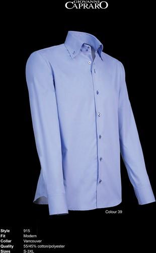 Giovanni Capraro 915-39 Heren Overhemd - Licht Blauw [Navy accent]