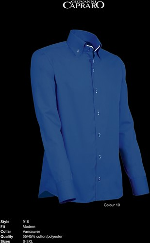 Giovanni Capraro 916-10 Overhemd - Donker Blauw [Wit accent]