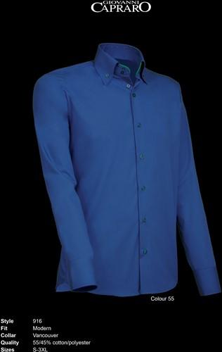 Giovanni Capraro 916-55 Heren Overhemd - Donker Blauw [Groen accent]