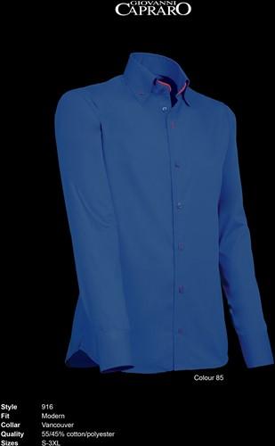 Giovanni Capraro 916-85 Heren Overhemd - Donker Blauw [Rood accent]